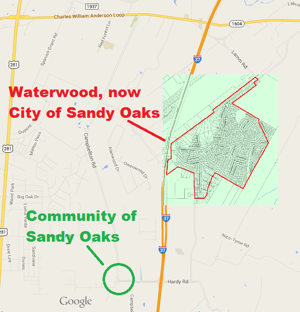 Map of Sandy Oaks Texas 2
