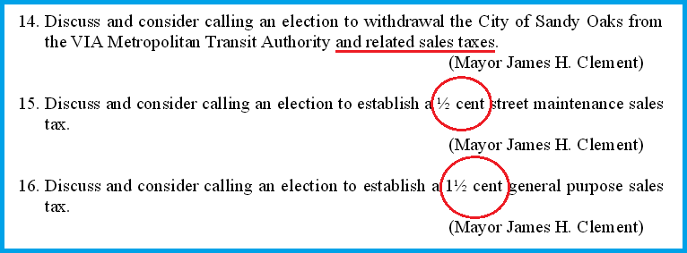 Sandy Oaks Sales Tax 2
